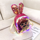 LOL Girls Sequins Rabbit Ears Fashion Backpack Bags for Toddlers Kids
