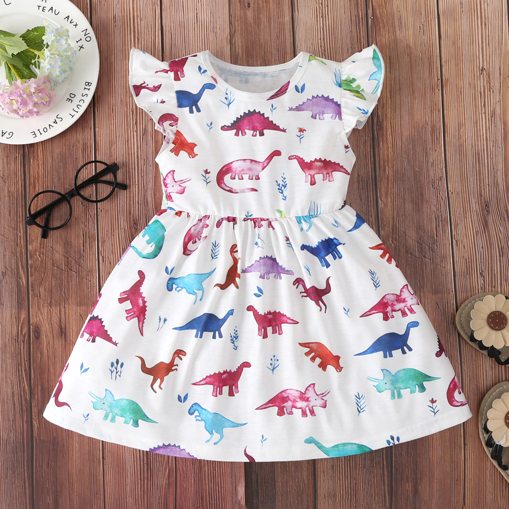 Girls Print Colorful Dinosaurs Short Sleeves A-line Skater Dress
