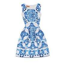 Mommy and Me Print China Flowers Sleeveless A-line Dresses