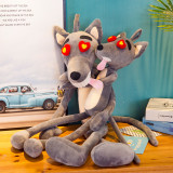 Grey Wolf with Red Hearts Eyes Soft Stuffed Plush Animal Doll for Kids Gift