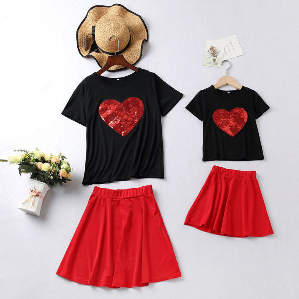 Mommy and Me Red Sequins Heart Black Top And Red Skirt Two Pieces