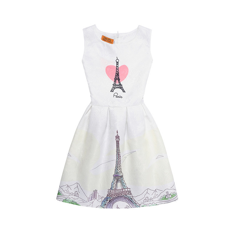 Mommy and Me Print Eiffel Tower Sleeveless Dresses
