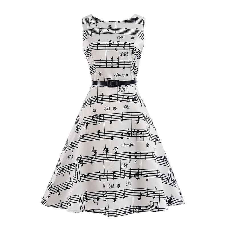 Mommy and Me Print Black Music Score Sleeveless A-line Dresses