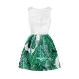 Mommy and Me Print Green Leaves Sleeveless Dresses
