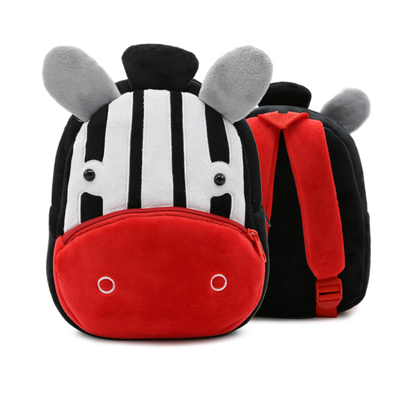 Kindergarten School Backpack Black Zebra Animal School Bag For Toddlers Kids