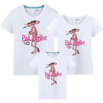 Matching Family Prints Slogan Pink Panther Famliy T-shirts Top