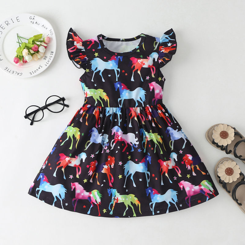 Girls Prints Rainbow Unicrons Ruffles Sleeves A-line Dress