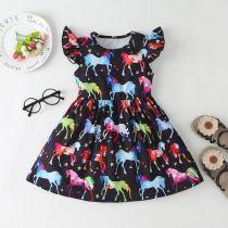 Girls Prints Rainbow Unicrons Ruffles Sleeves A-line Dress