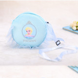 Blue Frozen Plush Circle Crossbody Shoulder Bags for Toddlers Kids