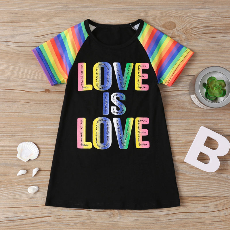 Baby Toddler Girls Rainbow Slogans Unicorn Summer T-shirt Casual Dress