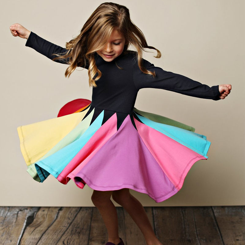Girls Matching Rainbow Long Sleeves A-line Skater Dress