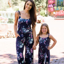 Mommy and Me Matching Flowers Lace Slips Backless Jumpsuit