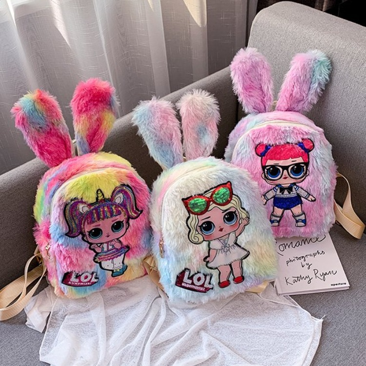 LOL Girls Plush Stuffed Sequins Rabbit Ears Fashion Backpack Bags for Toddlers Kids
