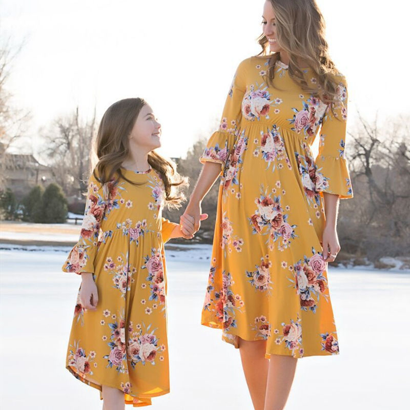 Mommy and Me Matching Prints Flowers Ruffles Sleeves A-line Dress
