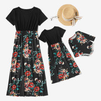 Mommy and Me Matching Red Flowers Summer Slips Jumpsuit Romper