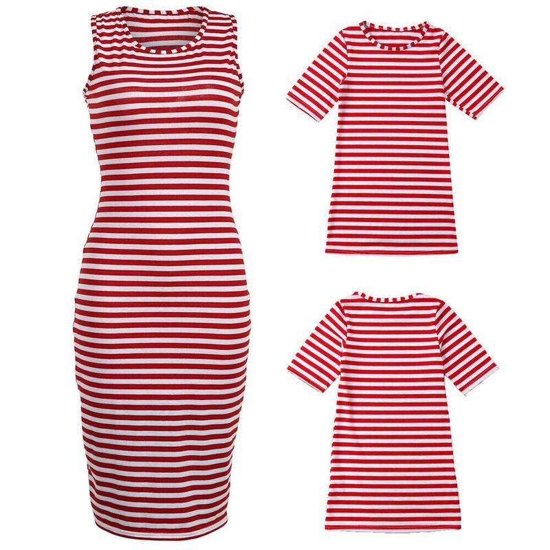 Mommy and Me Matching Stripes Dress