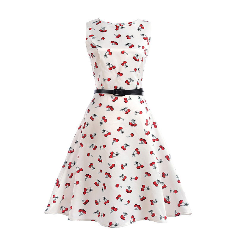 Mommy and Me Print Cherry Sleeveless A-line Dresses