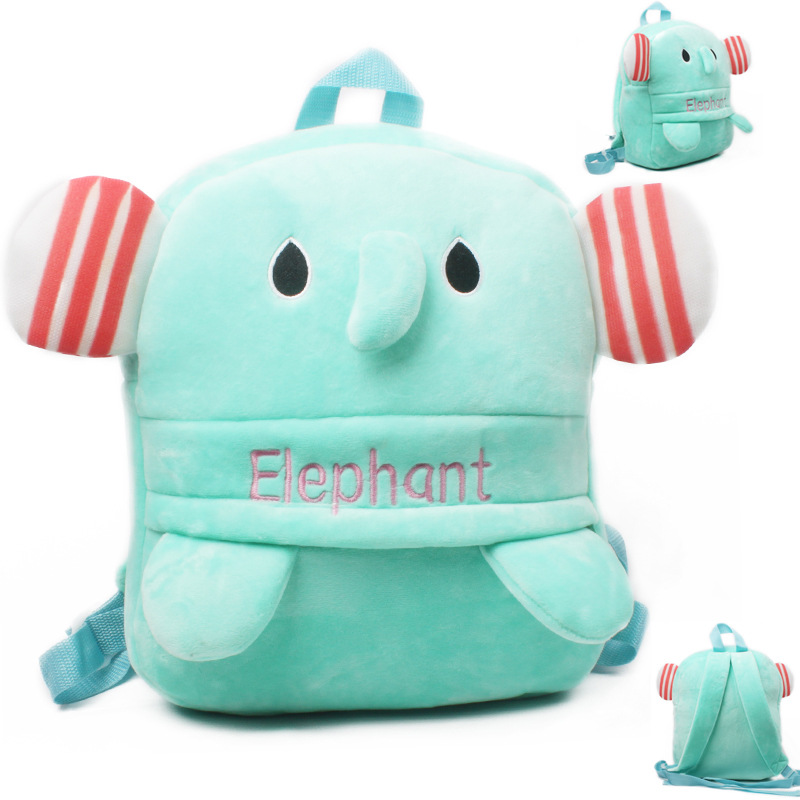 Kindergarten School Backpack Green Elephant School Bag For Toddlers Kids