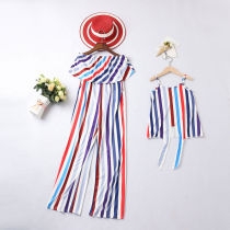 Mommy and Me Matching Women Outfit Stripes Off Shoulder Jumpsuit And Girl Slip Summer Dress