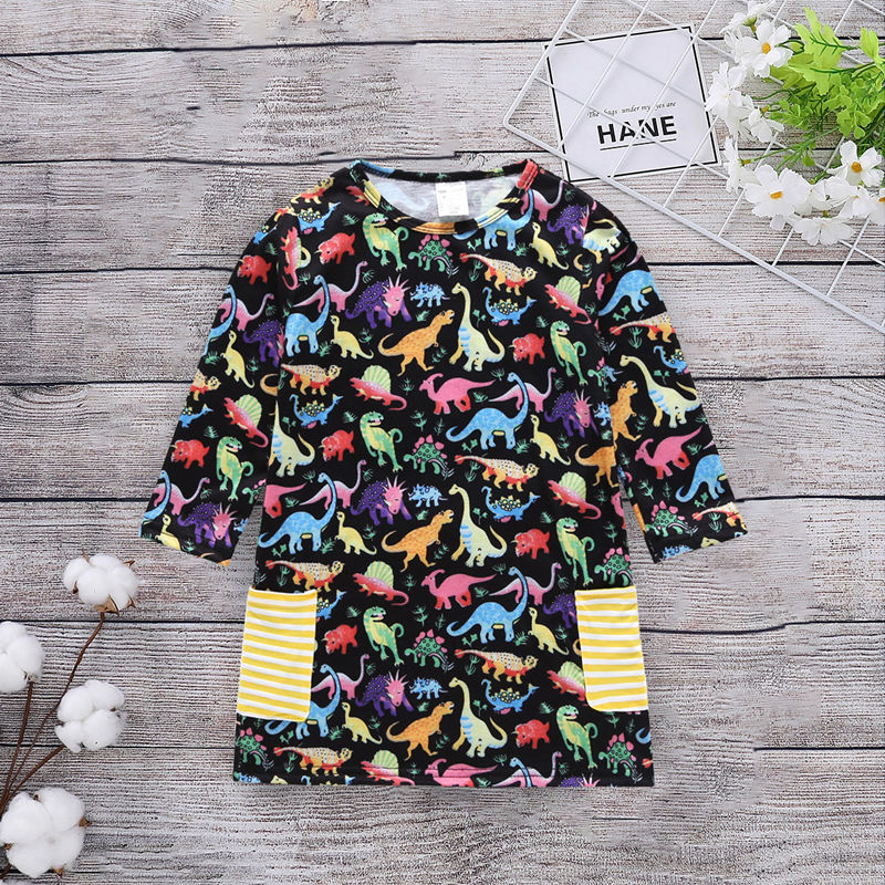 Toddler Girls Colorful Dinosuars Long Sleeves Casual Dress