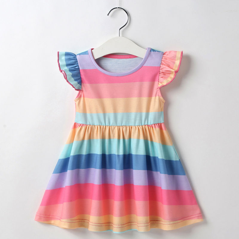 Baby Toddler Girls Rainbow Stripes Summer Ruffles Sleeves A-Line Skater Dress