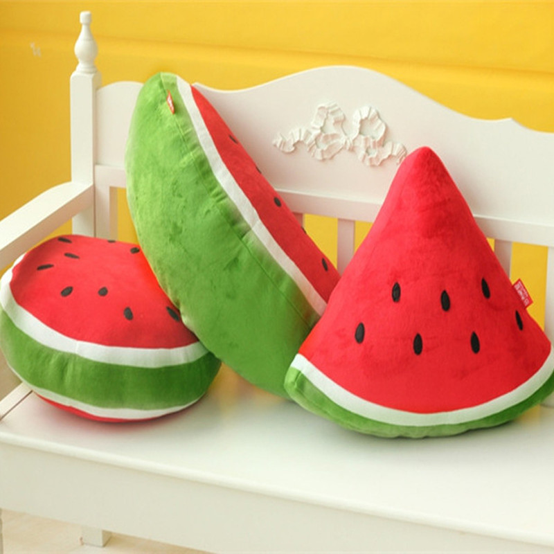 Green Geometry Watermelon Soft Stuffed Plush Fruit Doll for Kids Gift