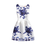 Mommy and Me Print Flowers Sleeveless Dresses