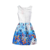 Mommy and Me Print Ombre Butterflies A-line Sleeveless Dresses