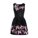 Mommy and Me Print Pink Butterflies Sleeveless Dresses