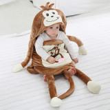Newborn Baby Brown Monkey Thicken Cotton Flannel Sleeping Bag 0-24M