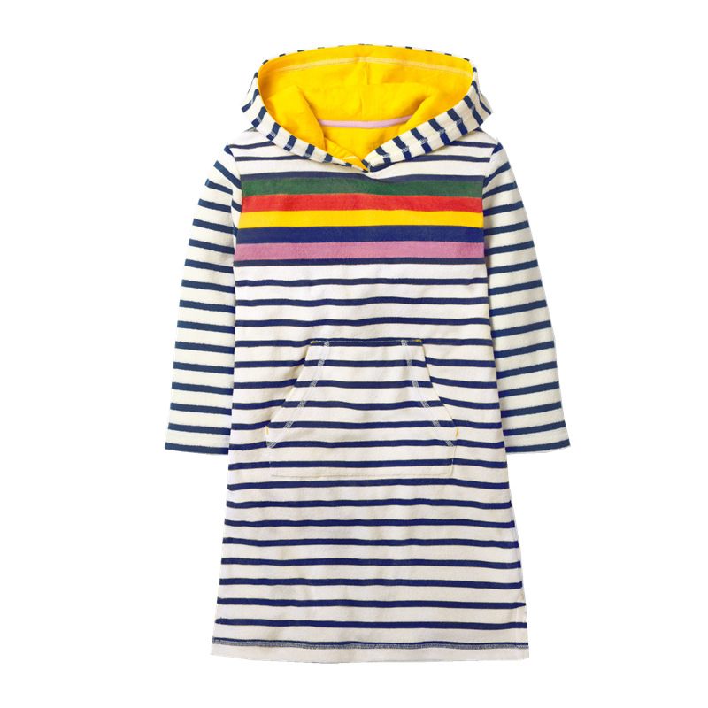 Toddler Kids Girls Print Rainbow Mermaid Strawberry Stripes Hooded Long Sleeves Dress