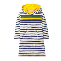 Toddler Kids Girls Print Rainbow Mermaid Strawberry Stripes Hooded Long Sleeves Dress