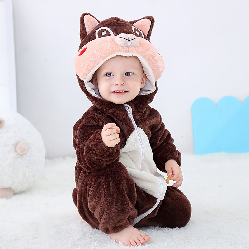 Brwon Squirrel Baby Onesie Kigurumi Pajamas Kids Animal Costumes for Unisex Baby