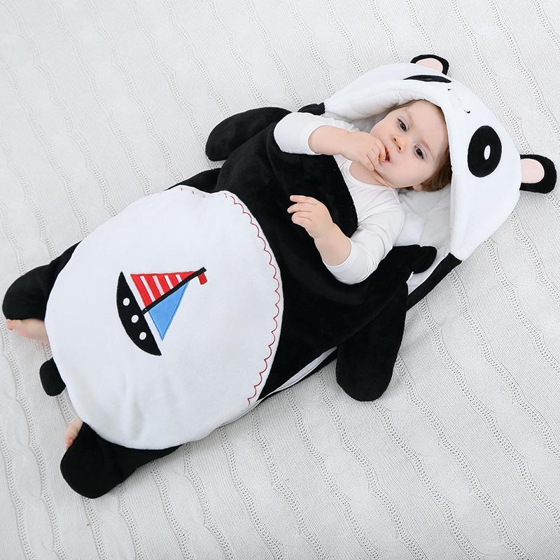 Newborn Baby Black Panda Thicken Cotton Flannel Sleeping Bag 0-24M