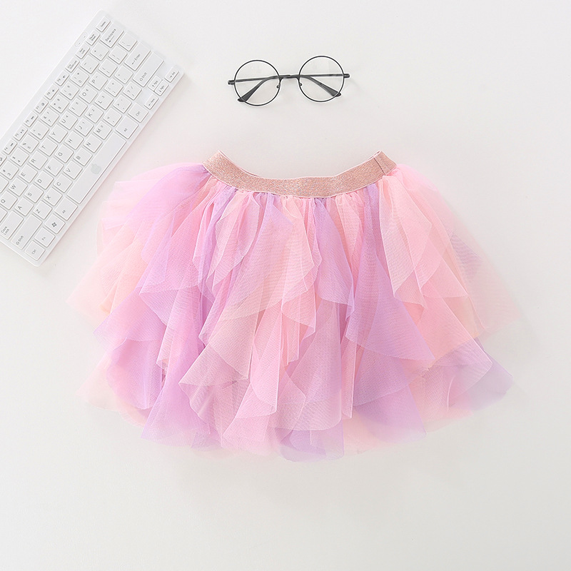 Toddler Kid Girl Irregular Color Matching Tutu Skirt