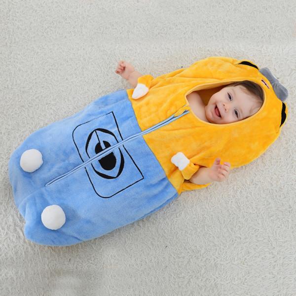 Newborn Baby Yellow Minions Thicken Cotton Flannel Sleeping Bag 0-24M