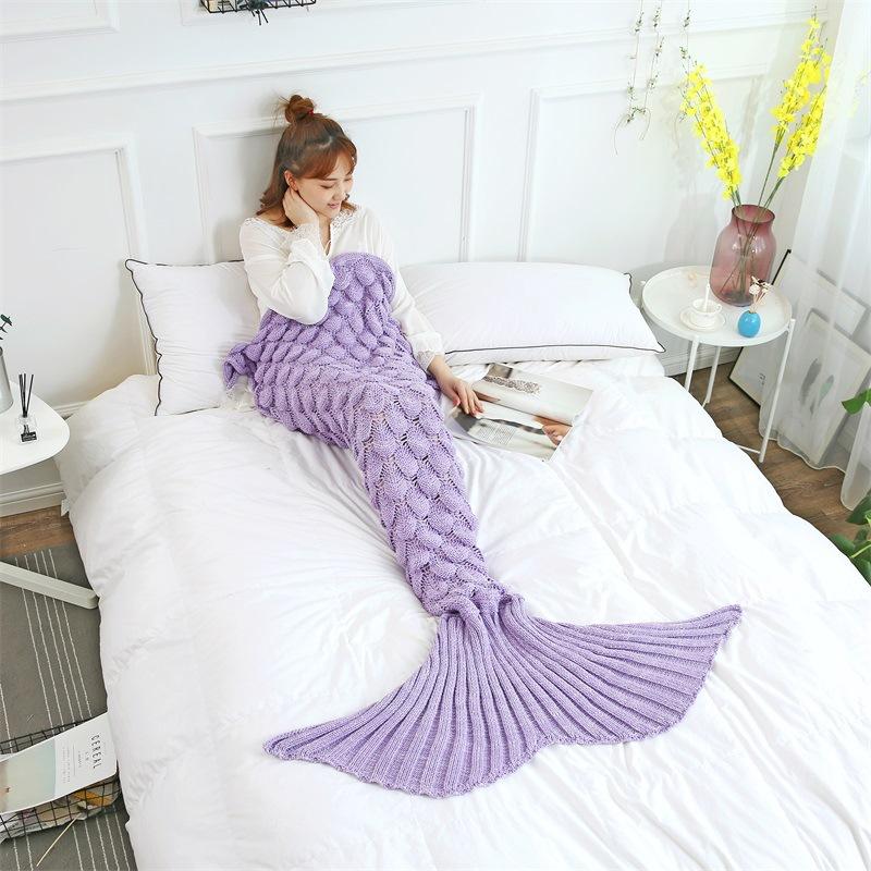 Kids & Adult Scale Crochet Knit Mermaid Tail Blanket Sleeping Bag