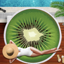 Print Fruit Kiwifruit Pitaya Pomelo Round Tassels Cotton Beach Towel Blanket Table Cover Wall Hanging