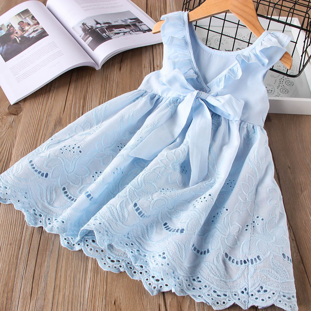 Toddler Girls Lace Hollow Out Bowknot Ruffles Sleeveless Skater Dress