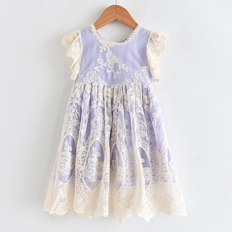 Toddler Girls White Lace Crochet Flowers Mesh Tutu Dress