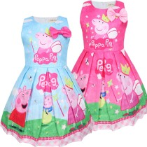 Toddler Girls Print Peppa Pig Angel Crown Bowknot Sleeveless A-line Dress