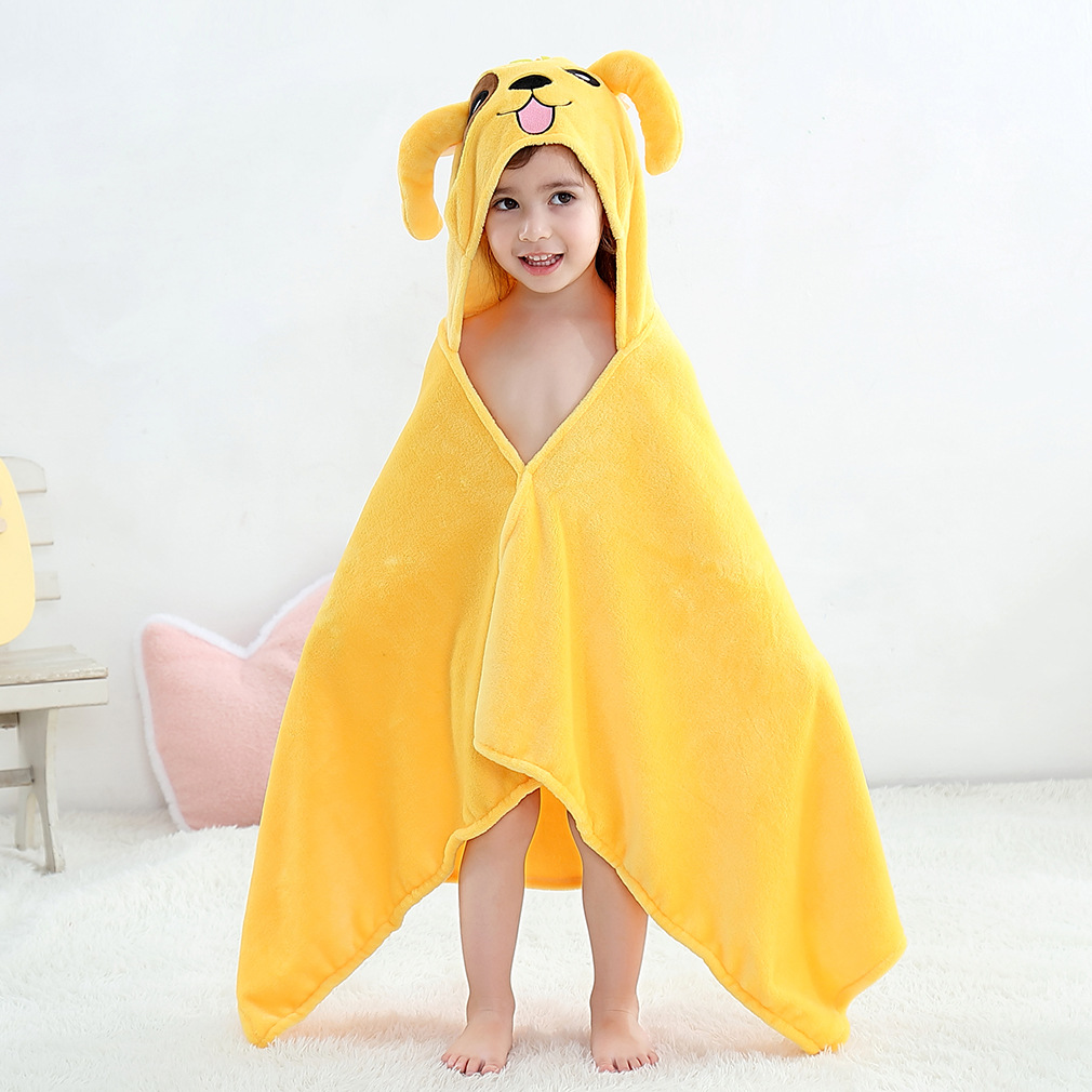 Kid Yellow Dog Hooded Bathrobe Cape Bathrobe Cloak