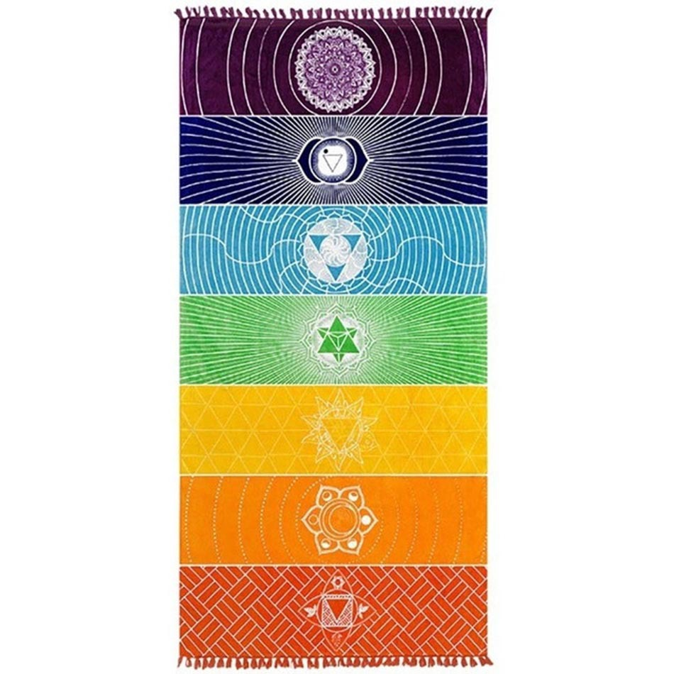 Print Rainbow Wheel of Life Rectangle Tassels Cotton Beach Towel Yuga Blanket Table Cover Wall Hanging