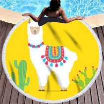 Print Africa Llama Cactus Round Tassels Cotton Beach Towel Blanket Table Cover Wall Hanging