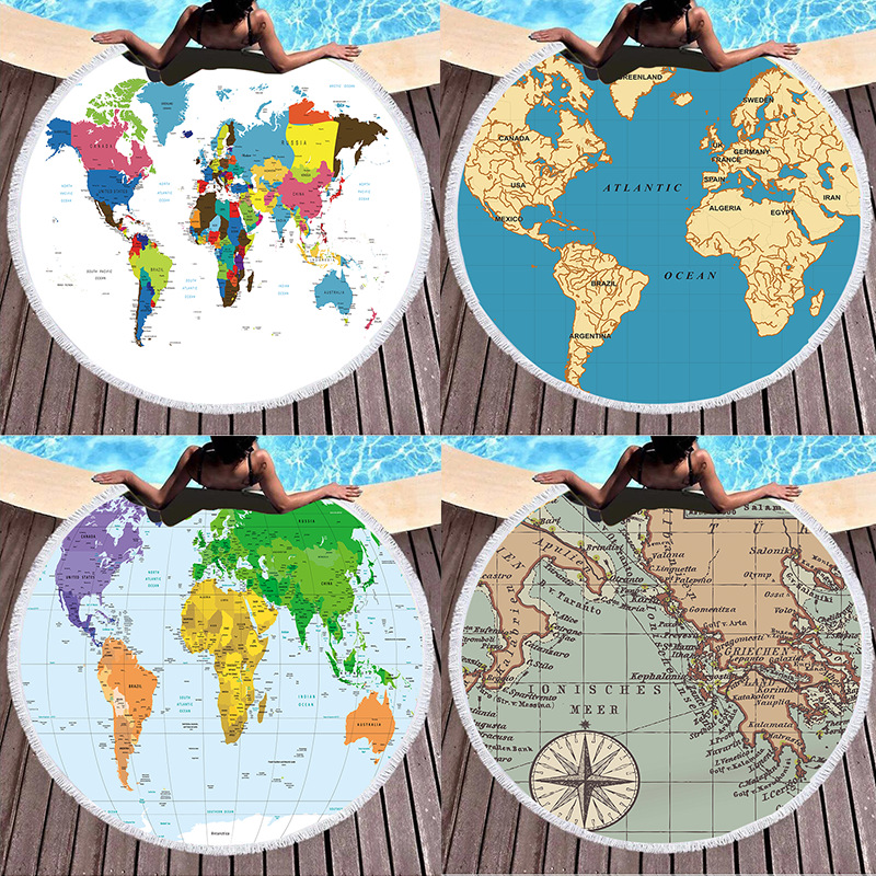 Print World Map Round Tassels Cotton Beach Towel Blanket Table Cover Wall Hanging