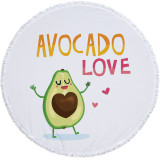 Print Fruit Avocados Round Tassels Cotton Beach Towel Blanket Table Cover Wall Hanging