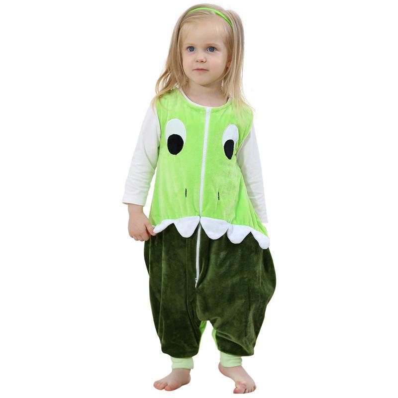 Unisex Kids Split Legs Green Dinosaur Sleeping Bag Winter Zipper Sleepwear Sleeveless Warm Pajamas
