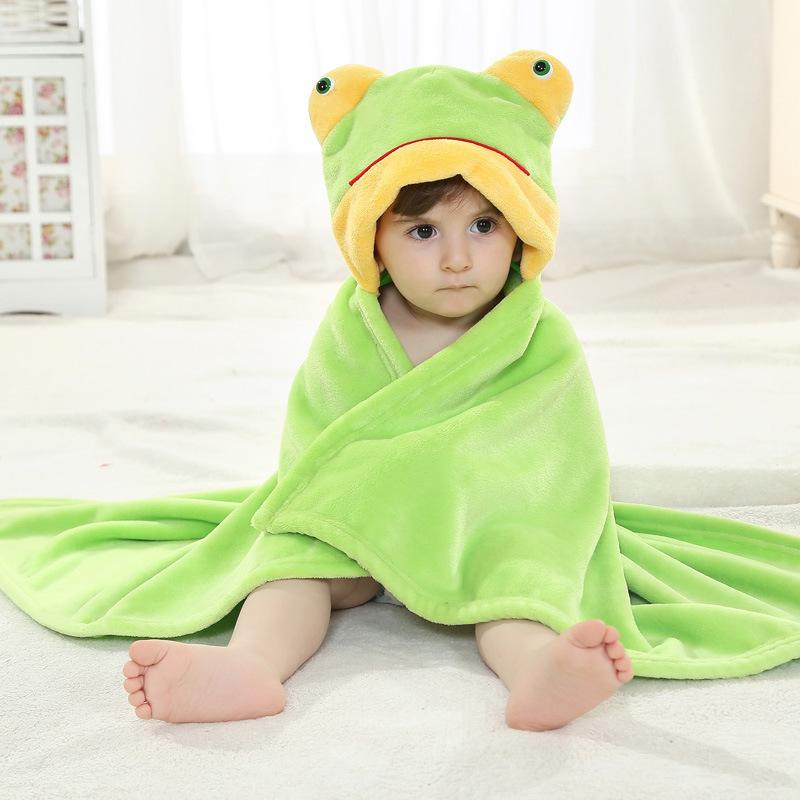 Kid Green Frog Hooded Bathrobe Cape Bathrobe Cloak