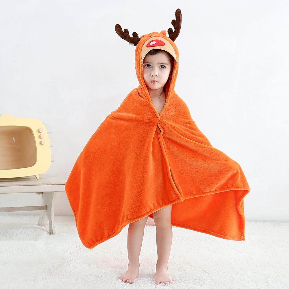 Kid Orange Deer Hooded Bathrobe Cape Bathrobe Cloak