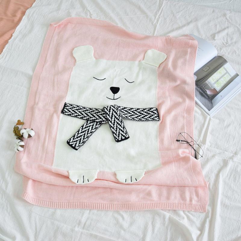 Print Knit Bear Sleeping Blanket